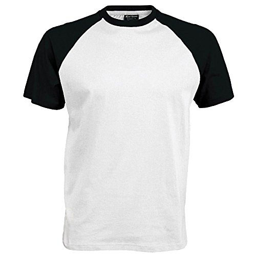 Kariban–Camiseta de manga corta para hombre blanco / negro XX-Large