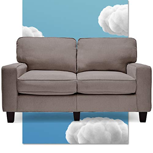 """Serta CR45232B Palisades Upholstered Sofas for Living Room Modern Design Couch, Straight Arms, Soft Fabric Upholstery, Tool-Free Assembly, 61"""" Loveseat, Glacial Gray"""