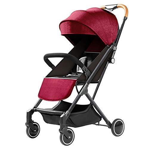 STRO Baby-Kinderwagen Babywagen, Kleinst Kinderwagen Kinderwagen Kinderwagen-Buggy, Eine Hand Faltbar, Fünf-Punkt-Gurt, Groß for Flugzeug (grau) (Color : Red)