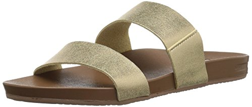 Reef Women's Sandals Cushion Bounce Vista | Vegan Leather Slides for Women with Cushion Bounce Footbed, Champagne, 10
