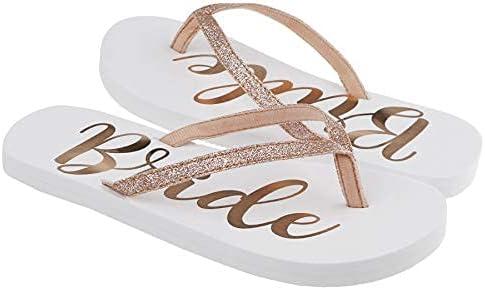 Capelli New York Ladies Glitter and Foil Bride EVA Flip Flops Gold