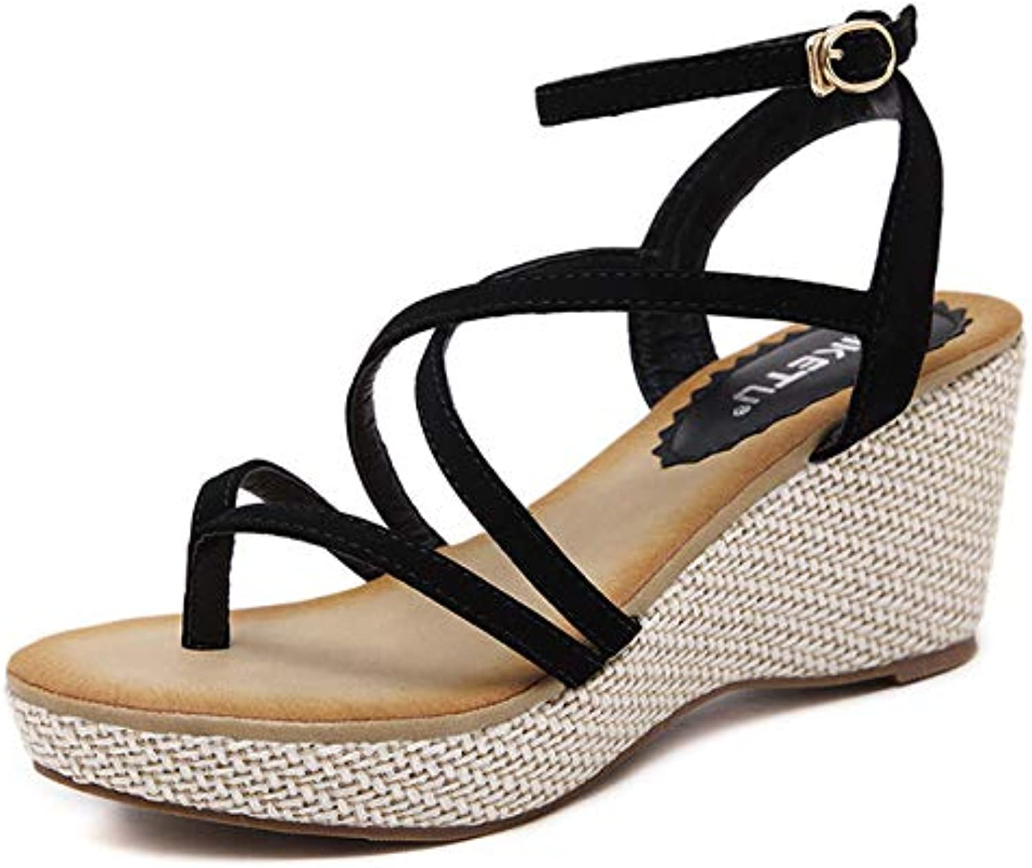 Women's Wedge Sandals, Summer shoes Platform Flats Rome Ankle Strap Casual Clip Toe Sandals, Suitable for Swimming Pool, Vacation, Home, Daily Wear
