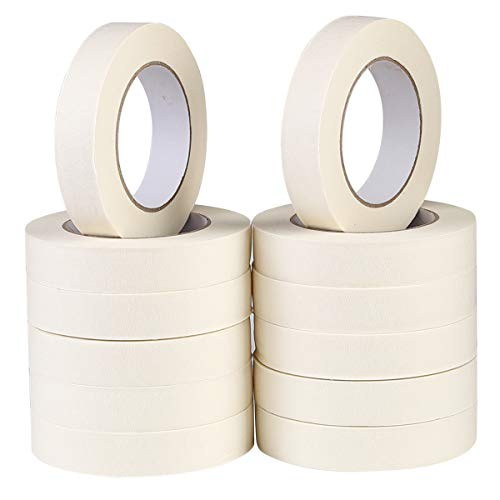 SKEMIX White Masking Tape,12 Pack Wide Purpose Masking Tape for Labeling,for Painting, Home, Office, School Stationery, Arts, Crafts etc. 1 Inch Wide, 60 Yard/Roll