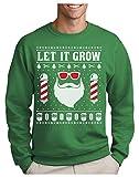 Green Turtle Sudadera para Hombre - Jersey Navidad Hombre Regalo Navidad Divertida - Santa Claus Beard Let It Grow - Medium Verde