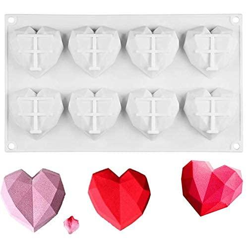 シリコン型 超柔軟シリコンモールド ムース型 ベーキング チョコレート型 お菓子 ケーキ 金型 3D抜き型 DIY 8穴 製菓道具 ホワイト フィナンシェ 立体的な愛の心型