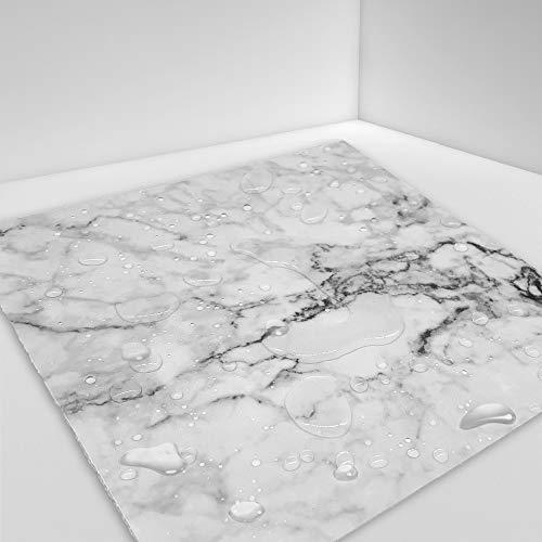 Hiser 10 Pièces Motif en Marbre Adhésive Décorative à Carreaux pour Salle de Bains et Cuisine Stickers Carrelage, Imperméables Auto-adhésifs 3D Adhésive Décoration (Blanc Noir,20 x 20 cm)