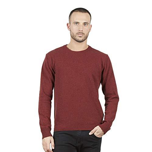 Pullovers heren trui met ronde hals in 100% Australian wol kleur Rood roest