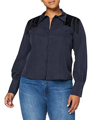 Marca Amazon - find. Camisa Fluida con Detalle de Flecos Mujer, Azul (Indigo), 38, Label: S