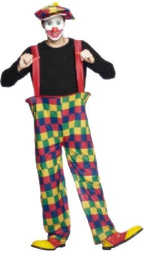 Clown Reif-Kostüm Mehrfarbig mit Hose Hut und Fliege, Medium