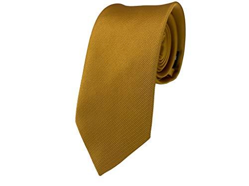 BUNCHERY & SONS handgefertigte 7,0 cm Satin Krawatte senfgelb karamel beige braun taupe gold