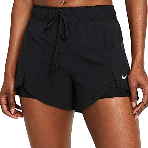 NIKE DA0453-011 W NK DF FLX ESS 2-IN-1 SHRT Shorts Womens Black/Black/(White) S