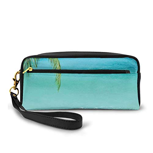 Pencil Case Pen Bag Pouch Stationary,Exotic Lebanon Beach Panoramic Sea View with Clean Water and Blue Sky,Small Makeup Bag Coin Purse