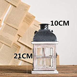 ANH19 Votive Candle Holders- Wooden Retro Candlestick Decor Glass Lantern Tealight Candle Holders Table Centerpiece Bougeoir Et Photophore Glass Lantern BZT6