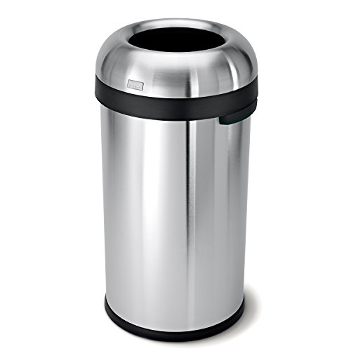 simplehuman 60 Liter / 16 Gallon Bullet Open Top Trash Can Commercial Grade, Heavy Gauge Brushed Stainless Steel