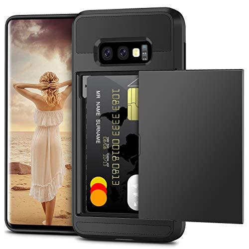 Vunake Funda para Galaxy S10e con tarjetero y doble capa de protección de silicona TPU y policarbonato, con tarjetero y billetera, 360 grados, para Samsung Galaxy S10 E, color negro