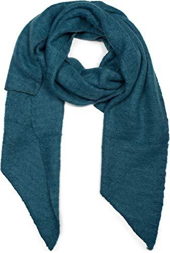 styleBREAKER Damen weicher unifarbener Web Schal in asymmetrischer Form, Winter, Stola 01017118, Farbe:Petrol
