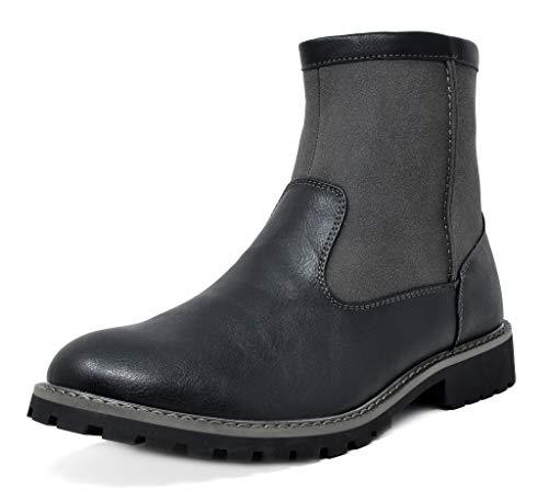 Bruno Marc Men's Black Chelsea Dress Boots Faux Fur Lining Ankle Boots Size 9.5 M US Stone-02