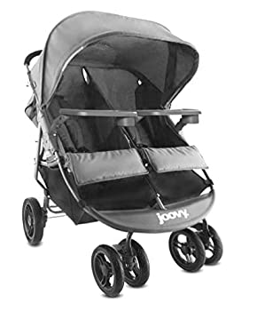 Joovy Scooter X2 with Tray Double Stroller Side by Side Stroller Stroller for Twins Large Storage Basket Charcoal
