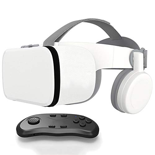YQK 110°FOV Virtual Reality Headset with Controller,Foldable 3D VR Glasses with Soft & Comfortable,Wireless High-Speed Audio Streaming Transmission Suitable for Android&I0S,B