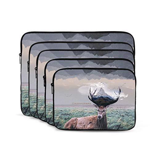 KUUDJIT Male Deer 12/13/15/17 Inch Laptop Sleeve Bag for MacBook Air 13 15 MacBook Pro Portable Zipper Laptop Bag Tablet Bag,Diving Fabric,Waterproof