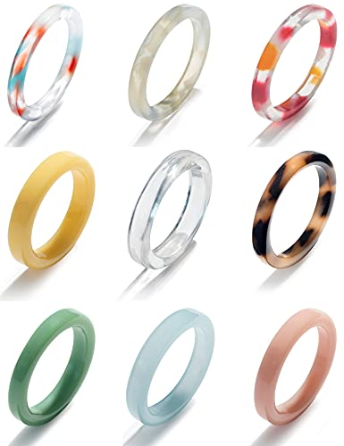 Fxiqini 9Pcs Resin Rings Wide Thin Dome Colorful Acrylic Chunky Knuckle Finger Ring Set Retro Vintage Y2K Transparent Plastic Stackable Joint Band Rings Jewelry for Women Girls