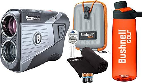 Bushnell Tour V5 (Standard) Golf Laser Rangefinder Patriot Pack Bundle | +Bushnell Bottle, Carrying Case, Divot Tool, PlayBetter Microfiber Towel and Two Batteries | Pinseeker Jolt, 6X Mag | 201901P
