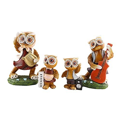 non_brand 4X Art Owl Family Escultura Adorno Estatuilla Estatua Apoyos Foto de