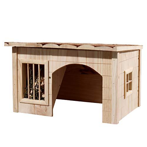 WTTTTW Jaula para Conejos Hamster, Azotea de Madera Maciza para el Descanso, Cuarto de Almacenamiento, Casa de Mascotas Sin Pinturas de Abeto Chino