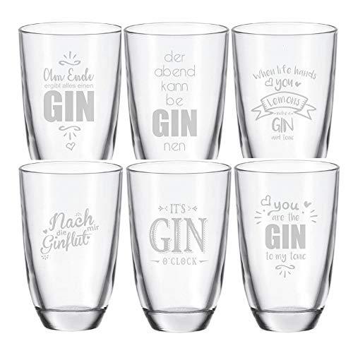 6er Set Gin • am Ende-der Abend-Gin to My Tonic-Gin o'clock-GINflut-When Life Hands You Lemons • Geschenkidee Geburtstag + Weihnachten für sie & ihn