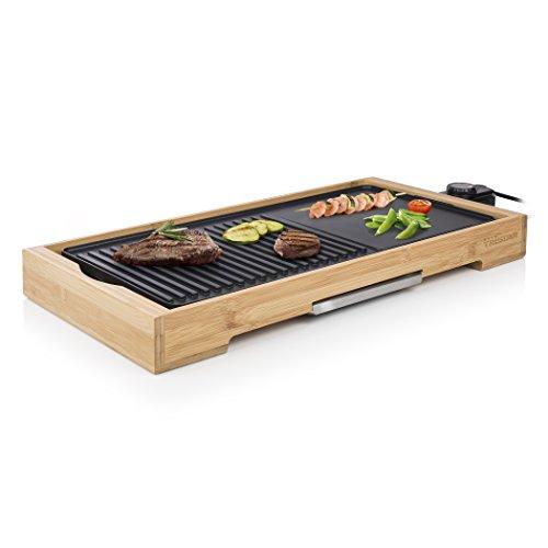 Plancha de table Tristar Bamboo Grill XL BP-2641 noire - 6 personnes - Plaque de cuisson en fonte d'aluminium 51 x 25,4 cm