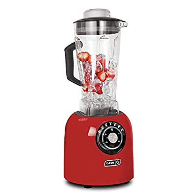 Dash Chef Series Blender with Stainless Steel Blades + Digital Display for Coffee Drinks, Frozen Cocktails, Smoothies, Soup, Fondue & More, 64 oz, Red