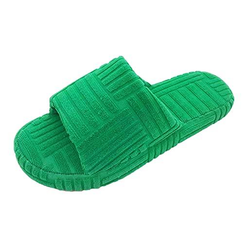 URIBAKY - Pantuflas para casa Plus de terciopelo, zapatos planos de invierno, espuma con memoria y zapatillas antideslizantes para interior y exterior, verde, 41 EU