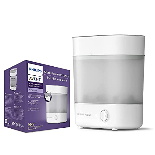 Philips Avent SCF291/00 Sterilisator für bis zu 6 Babyflaschen, Sauger und Zubehör, Vaporisator Baby mit modularem Design, weiß