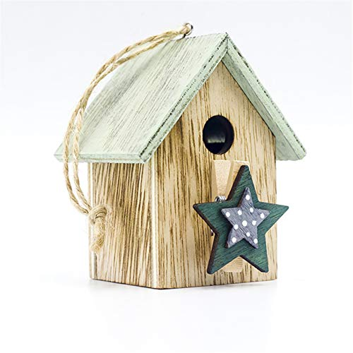 Botreelife Christmas Decoration Wooden Painted Cabin Pendant Christmas Tree Hanging Ornaments for Home Decor,Green Five-Pointed Star