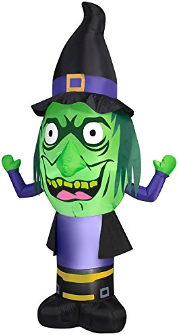 GEMMY INDUSTRIES Inflatable Stumpy Head Witch Outdoor Decor, 7-Feet