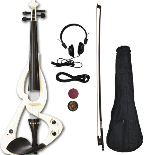 Crescent EV-WT Full Size 4/4 Electric Violin Starter Kit, White (Includes CrescentTM Digital E-Tuner)