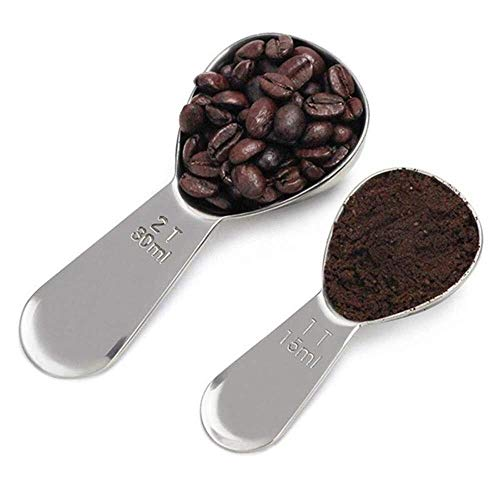 For Sale! Kitchen Tablespoon Tools Measure Cup Coffee Spoons 2 Piece Stainless Steel Coffee Scoops M...
