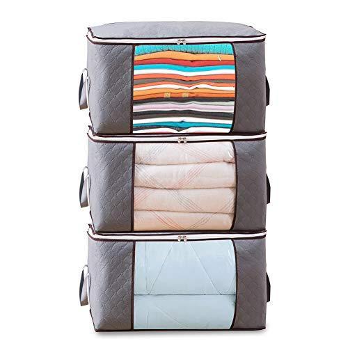 HINMAY Foldable Storage Bag Organizers, Waterproof Anti-Mold Moisture Proof Clothes Storage Bags with Clear Window Carry Handles for Blanket Comforter Bedding, Closet Storage Boxes (Grey, 3 Packs)