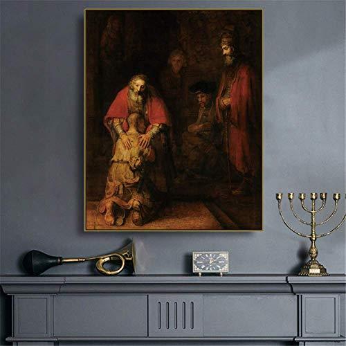 YaShengZhuangShi Leinwand Wandkunst 50x70cm kein Rahmen 《Die Rückkehr des verlorenen Sohnes》 Rembrandt Kunstplakat Wanddekoration Moderne Wohnkultur für Wohnzimmer