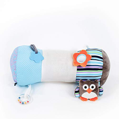 Nuby Tummy Time Pillow, Blue, White & Grey