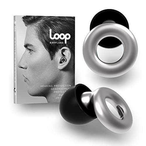 Loop Earplugs for Noise Reduction (2 Ear Plugs) High Fidelity Ear Protection for Concerts, Work Noise Reduction, Studying, Musicians, Motorcycles, Relaxation - 20 dB Filter Sound Blocking - Silver