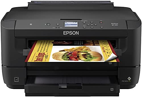 """Epson Workforce WF 7200 Series Wireless Wide-Format Color Inkjet Printer - Mobile Printing - Auto Duplex Printing - 2.2"""" Mono Display - Up to 18 ISO PPM - 500 Sheets Tray Capacity"""