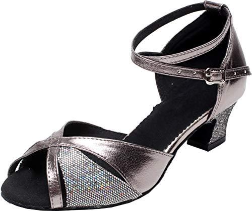 Zapatos de baile latino de las señoras del talón del bloque de la salsa del salón vestido de la boda de la novia de la moda del peep, color Gris, talla 41 EU