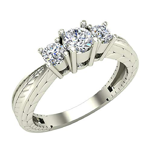 3/8 ctw Past Present Future Engraved Three Stone Anniversary Ring Diamond Engagement Ring 14K White Gold (Ring Size 6)