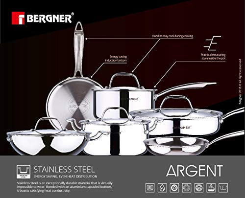 Bergner Argent Stainless Steel Frypan with Lid, 22cm