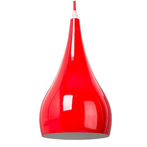 Moderna Lampada a Sospensione da Soffitto Metallo Luce A Soffitto Montaggio Modello Vintage Industriale Attacco E27 (Rosso)