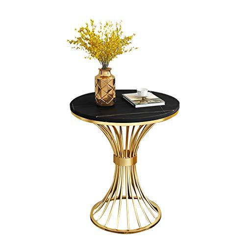 KYSZD-Uhren Gold Sofa Beistelltisch, Tisch Nachttisch Moderne, gesinterte Steinplatte mit Metallrahmen für Wohnzimmer Schlafzimmer