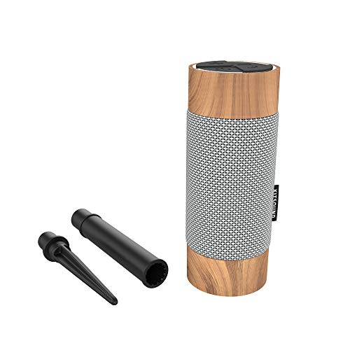 KitSound Diggit Outdoor Freestanding Bluetooth Garden Speaker with Removable Stake, Silver/Wood