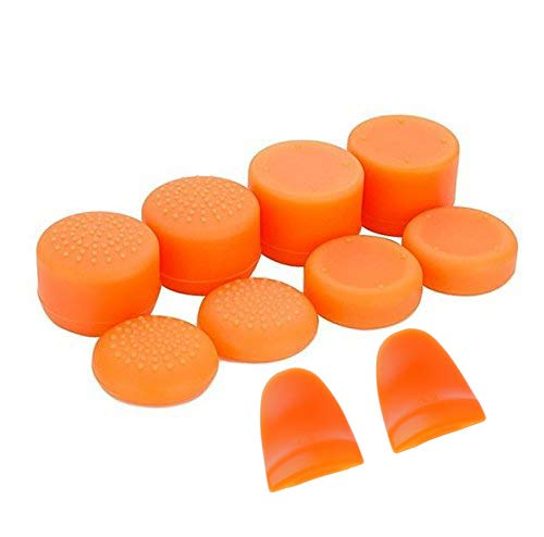 Replacement L2 R2 Buttons Trigger Extender + Silicone Analog Thumb Stick Cap Cover Grip Thumbsticks Joystick for Sony PS4 PS4 Pro Slim Controller (Orange)