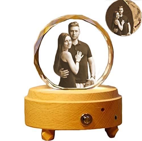 Lámpara de cristal de foto personalizada Luz de noche personalizada N